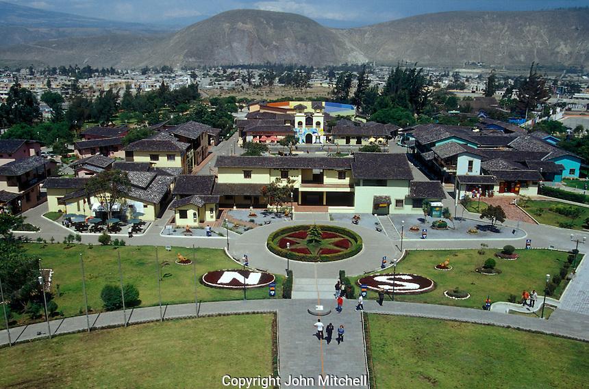 The equator line and Mitad del Mundo complex from the top of the Mitad del Mundo monument,