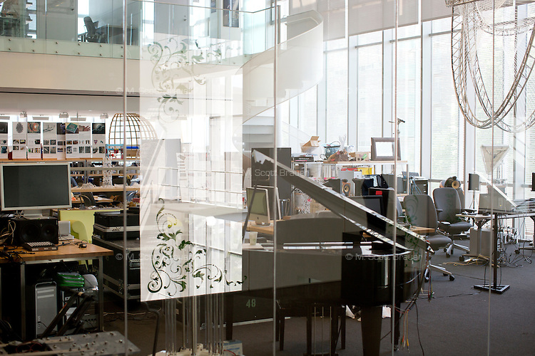 A view of a lab area with a grand piano in MIT's Media Lab in Cambridge, Massachusetts, USA.