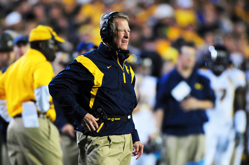 18 September 08: West Virginia coach Bill Stewart during a game against Colorado. The Colorado Buffaloes defeated the West Virginia Mountaineers 17-14 in overtime at Folsom Field in Boulder, Colorado. For Editorial Use Only.