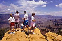 Tourists at South rim view of Grand Canyon in Arizona, USA
