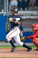 L.V. Ware (6) of the Danville Braves follows through on his swing at Dan Daniels Park in Danville, VA, Sunday July 27, 2008.