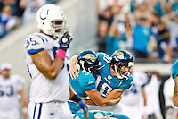 October 03, 2010:   Jacksonville Jaguars place kicker Josh Scobee (10) celebrates with his holder punter Adam Podlesh (3) after kicking the winning 59 yard field goal during AFC South Conference action between the Jacksonville Jaguars and the Indianapolis Colts at EverBank Field in Jacksonville, Florida.   Jacksonville defeated Indianapolis 31-28,........