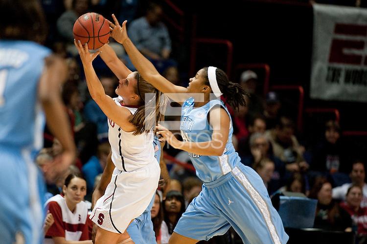 SPOKANE, WA - MARCH 26, 2011: Jeanette Pohlen, Stanford Women's Basketball vs University of North Carolina, NCAA West Regionals on March 26, 2011.