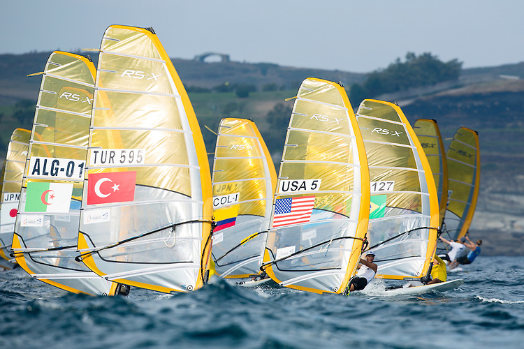 SANTANDER, SPAIN - SEPTEMBER 13:  RS:X Men - USA5 - Raul Lopez in action during Day 2 of the 2014 ISAF Sailing World Championships on September 13, 2014 in Santander, Spain.  (Photo by MickAnderson/SAILINGPIX via Getty Images)