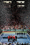 French and Serbian Davis Cup teams during closing ceremony of Davis Cup finals, Serbia vs France in Belgrade Arena in Belgrade, Serbia, Sunday, 5. December 2010. (Srdjan Stevanovic/Starsportphoto ©)