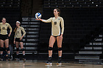 Caroline Rassenfoss (18) of the Wake Forest Demon Deacons prepares to serve the ball during the match against the USC Upstate Spartans in the LJVM Coliseum on September 9, 2017 in Winston-Salem, North Carolina.  The Demon Deacons defeated the Spartans 3-2.   (Brian Westerholt/Sports On Film)