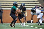 Kendall Hinton (2) of the Wake Forest Black Team keeps the ball from Matt Colburn II (22) during the Wake Forest Football Spring Game at BB&T Field on April 7, 2018 in Winston-Salem, North Carolina.  The Gold Team defeated the Black Team 26-6.  (Brian Westerholt/Sports On Film)