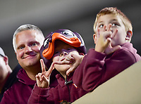 Blacksburg, VA - SEPT 30, 2017: Virginia Tech Hokies fan during game between Clemson and Virginia Tech at Lane Stadium/Worsham Field Blacksburg, VA. (Photo by Phil Peters/Media Images International)