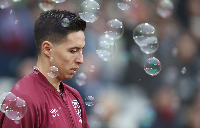 West Ham United's Samir Nasri<br /> <br /> Photographer Rob Newell/CameraSport<br /> <br /> Emirates FA Cup Third Round - West Ham United v Birmingham City - Saturday 5th January 2019 - London Stadium - London<br />  <br /> World Copyright © 2019 CameraSport. All rights reserved. 43 Linden Ave. Countesthorpe. Leicester. England. LE8 5PG - Tel: +44 (0) 116 277 4147 - admin@camerasport.com - www.camerasport.com