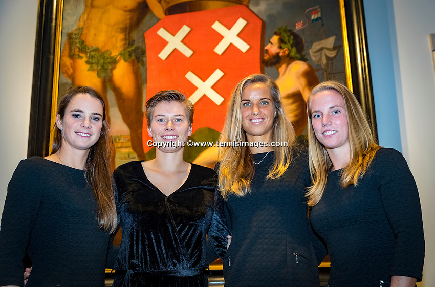 Den Bosch, The Netherlands, Februari 07 2019,  Maaspoort , FedCup  Netherlands - Canada, official diner, Dutch team ltr :Bibianne Schoofs, Demi Schuurs, Aranxa Rus and Richel Hogenkamp<br /> Photo: Tennisimages/Henk Koster