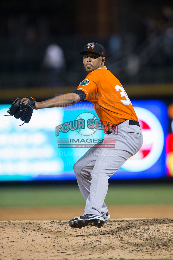 Norfolk Tides relief pitcher Richard Rodriguez (31) in action against the Charlotte Knights at BB&T BallPark on May 2, 2017 in Charlotte, North Carolina.  The Knights defeated the Tides 8-3.  (Brian Westerholt/Four Seam Images)