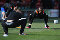 Blackpool's Nathan Delfouneso during the pre-match warm-up <br /> <br /> Photographer Kevin Barnes/CameraSport<br /> <br /> The EFL Sky Bet League One - Fleetwood Town v Blackpool - Saturday 7th March 2020 - Highbury Stadium - Fleetwood<br /> <br /> World Copyright © 2020 CameraSport. All rights reserved. 43 Linden Ave. Countesthorpe. Leicester. England. LE8 5PG - Tel: +44 (0) 116 277 4147 - admin@camerasport.com - www.camerasport.com
