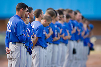 Duke Blue Devils head coach Sean McNally #22 and his team during the National Anthem prior to taking on the Wake Forest Demon Deacons at the Wake Forest Baseball Park April 23, 2010, in Winston-Salem, NC.  Photo by Brian Westerholt / Sports On Film