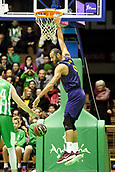 7th January 2018, San Pablo Sports Municipal Palace, Seville, Spain; Endesa League Basketball, Real Betis Energia Plus versus FC Barcelona Lassa; Adam Hanga from Barcelona Lassa hangs from the  net after a dunk