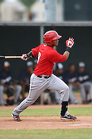 Los Angeles Angels of Anaheim first baseman Steven Mateo (9) during an Instructional League game against the Milwaukee Brewers on October 9, 2014 at Tempe Diablo Stadium Complex in Tempe, Arizona.  (Mike Janes/Four Seam Images)