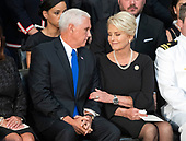 United States Vice President Mike Pence, left and Mrs. Cindy McCain following the Vice President's remarks during the Lying in State ceremony honoring the late US Senator John McCain (Republican of Arizona) in the US Capitol Rotunda in Washington, DC on Friday, August 31, 2018.<br /> Credit: Ron Sachs / CNP<br /> <br /> (RESTRICTION: NO New York or New Jersey Newspapers or newspapers within a 75 mile radius of New York City)