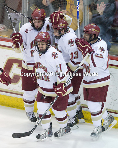 Ben Smith (BC - 12), Steven Whitney (BC - 21), Cam Atkinson (BC - 13), Brian Gibbons (BC - 17) - The Boston College Eagles defeated the University of Massachusetts-Amherst Minutemen 6-5 on Friday, March 12, 2010, in the opening game of their Hockey East Quarterfinal matchup at Conte Forum in Chestnut Hill, Massachusetts.