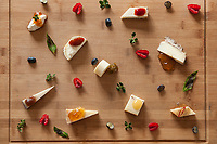 A dish of Pecorino cheese pairings, created by Dario Ferreri of La Bandita, Val D' Orcia, Tuscany, Italy