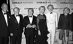 Simon Winchester, Jack Welch, Arnold Scaasi, Hillary Rodham Clinton, Tom Wolfe and Liz Smith attending  the Literacy Partners 20th  Annual Gala,<br /> AN EVENING OF READINGS at Lincoln Center, Honoring Tom Brokaw, Tim Russert and Jack Welch on May 3, 2004 at Lincoln Center in New York City.