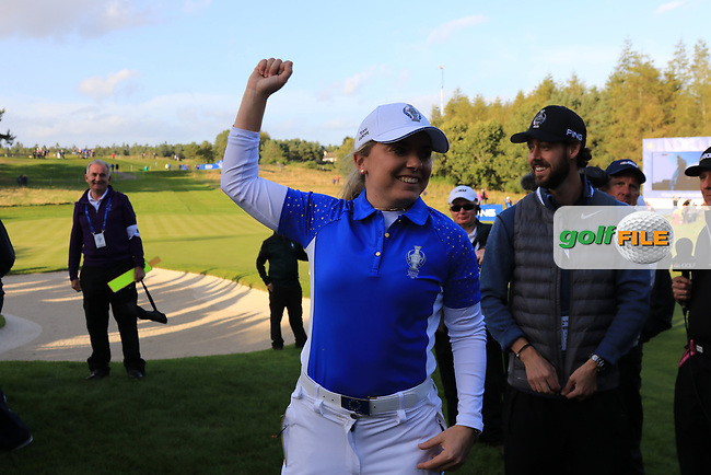 Bronte Law (EUR) celebrates Team Europe winning the Solheim Cup 2019, Gleneagles Golf CLub, Auchterarder, Perthshire, Scotland. 15/09/2019.<br /> Picture Thos Caffrey / Golffile.ie<br /> <br /> All photo usage must carry mandatory copyright credit (© Golffile   Thos Caffrey)