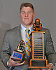 Mike Scibelli of Oceanside poses for a portrait after winning the Martone Award, given annually to the most outstanding lineman in Nassau County, at the NCHSFCA Gridiron Banquet at Crest Hollow Country Club in Woodbury on Wednesday, Dec. 6, 2017.