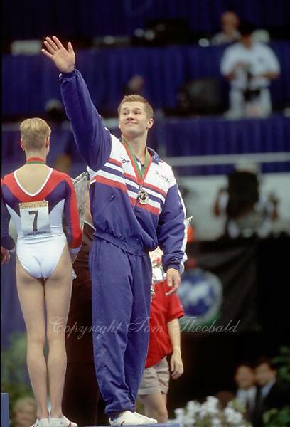 July 26, 1998; New York, NY, USA;  Artistic gymnast Aleksei Nemov of Russia celebrates mixed pair gold (with teammate Svetlana Khorkina)  at 1998 Goodwill Games New York. Copyright 1998 Tom Theobald