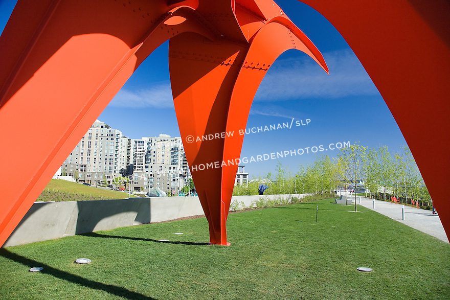 "Seen up close, the vivid red of Alexander Calder's, ""Eagle, 1971"" contrasts with the vivid blue of a Northwest sky and the fresh gravel of the Moseley Path.   SAM's Olympic Sculpture Park, Seattle, WA."