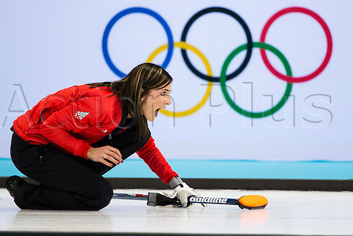 19.02.2014 Sochi, Krasnodar Krai, Russia.   Great Britain skip Eve MUIRHEAD with her key final delivery during the semifinal of the Women's Curling competition between Great Britain and Canada from the Ice Cube Curling Centre, Coastal Clustre - XXII Olympic Winter Games