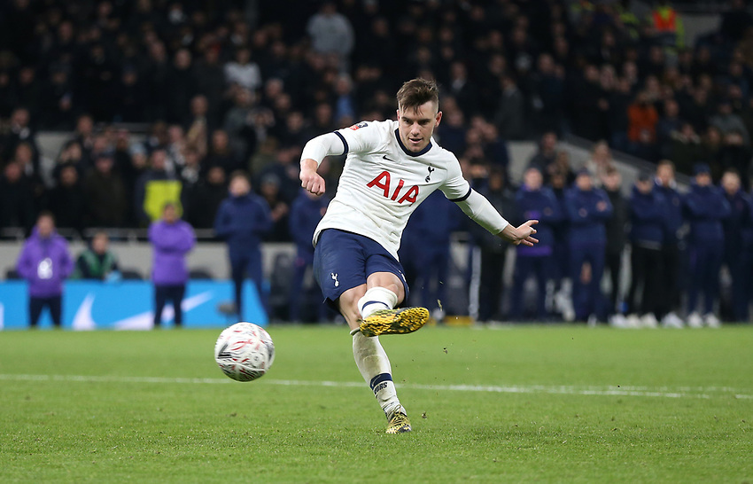 Tottenham Hotspur's Giovani Lo Celso scores his penalty during the shoot-out<br /> <br /> Photographer Rob Newell/CameraSport<br /> <br /> The Emirates FA Cup Fifth Round - Tottenham Hotspur v Norwich City - Wednesday 4th March 2020 - Tottenham Hotspur Stadium - London<br />  <br /> World Copyright © 2020 CameraSport. All rights reserved. 43 Linden Ave. Countesthorpe. Leicester. England. LE8 5PG - Tel: +44 (0) 116 277 4147 - admin@camerasport.com - www.camerasport.com