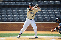 Gavin Sheets (24) of the Wake Forest Demon Deacons at bat against the Pitt Panthers at David F. Couch Ballpark on May 20, 2017 in Winston-Salem, North Carolina. The Demon Deacons defeated the Panthers 14-4.  (Brian Westerholt/Four Seam Images)