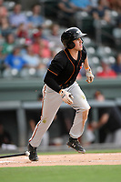 Second baseman Ryne Ogren (4) of the Delmarva Shorebirds runs out a batted ball in a game against the Greenville Drive on Friday, August 2, 2019, at Fluor Field at the West End in Greenville, South Carolina. The game was suspended in the second inning and will not be made up. (Tom Priddy/Four Seam Images)