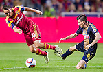 Real Salt Lake midfielder Luis Gil (10) and Philadelphia Union forward Sebastien Le Toux (9) vie for the ball in the second half Saturday, March 14, 2015, during the Major League Soccer game at Rio Tiinto Stadium in Sandy, Utah. (© 2015 Douglas C. Pizac)