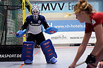 Mannheim, Germany, January 07: During the 1. Bundesliga Damen Hallensaison 2017/18 Sued  hockey match between Mannheimer HC (blue) and Nuernberger HTC (red) on January 7, 2018 at Irma-Roechling-Halle in Mannheim, Germany. Final score 8-1 (HT 5-1). (Photo by Dirk Markgraf / www.265-images.com) *** Local caption *** Nadine Stelter #13 of Mannheimer HC