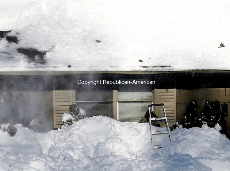 Naugatuck, CT- 09 February 2013-020913CM06- Snow blows across an abandoned ladder on Timothy Road in Naugatuck Saturday afternoon. The roof had signs of cleaning, after a blizzard dumped more than two feet of snow in areas across the state.   Christopher Massa Republican-American
