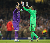 June 3rd 2017, National Stadium of Wales , Wales; UEFA Champions League Final, Juventus FC versus Real Madrid; Sergio Ramos (Captain) of Real Madrid celebrates at the final whistle with Keylor Navas as their team won the final by a score of 4-1
