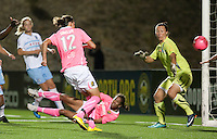 Christine Sinclair (12) shoots past Jillian Loyden (1) but the goal was disallowed. FC Gold Pride tied the Chicago Red Stars 0-0 in PUMA's Project Pink, Think Pink, Breast Cancer Awareness game at Pioneer Stadium in Hayward, California on August 7th, 2010.