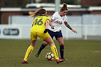 Coral-Jade Haines of Tottenham Ladies and Ellie Noble of Oxford United Ladies during Tottenham Hotspur Ladies vs Oxford United Women, FA Women's Super League FA WSL2 Football at Theobalds Lane on 11th February 2018