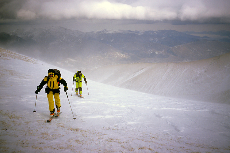 Summiting Mount Tezhler (3101 m) against stormy winds, Armenia, February 2014