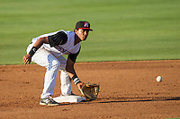 Kannapolis Intimidators shortstop Cleuluis Rondon (5) waits for a throw at second base during the game against the Hickory Crawdads at CMC-Northeast Stadium on May 18, 2014 in Kannapolis, North Carolina.  The Intimidators defeated the Crawdads 6-5 in 10 innings.  (Brian Westerholt/Four Seam Images)