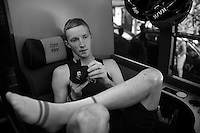 Ian Boswell (USA/SKY) prepping on the teambus prior to the race<br /> <br /> stage 19: Medina del Campo - Avila (186km)<br /> 2015 Vuelta &agrave; Espana