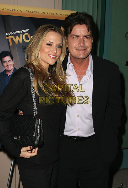 "BROOKE MUELLER & CHARLIE SHEEN.An Evening with ""Two and a Half Men"" presented by the Academy of Television Arts & Sciences at the Leonard Goldenson Theater, North Hollywood, California, USA, 27 February 2008..half length black Chanel bag.CAP/ADM/`CH.?Charles Harris/Admedia/Capital PIctures"