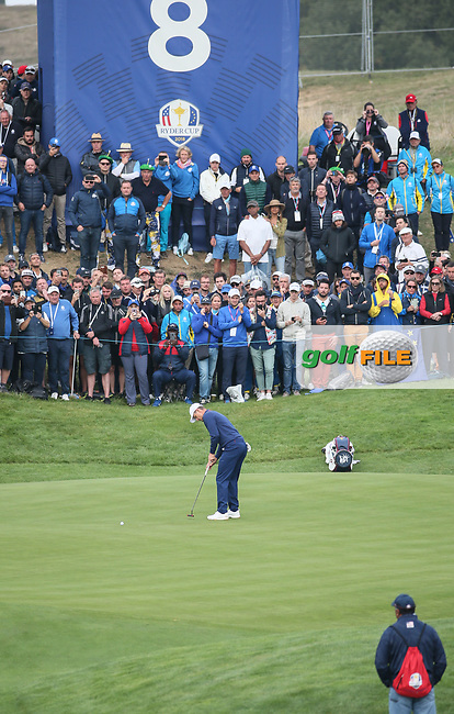 Justin Rose (Team Europe) fumbles his putt on the 8th during Friday's Fourballs, at the Ryder Cup, Le Golf National, Îls-de-France, France. 28/09/2018.<br /> Picture David Lloyd / Golffile.ie<br /> <br /> All photo usage must carry mandatory copyright credit (© Golffile | David Lloyd)