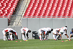 15 March 2008: Cuba's players stretch before the game. The Panama U-23 Men's National Team defeated the Cuba U-23 Men's National Team 4-1 at Raymond James Stadium in Tampa, FL in a Group A game during the 2008 CONCACAF's Men's Olympic Qualifying Tournament.