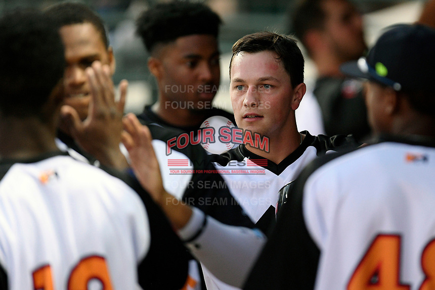 Right fielder Brian Sharp (7) of the Columbia Fireflies is greeted after scoring a run in a game against the Lexington Legends on Thursday, June 13, 2019, at Segra Park in Columbia, South Carolina. Lexington won, 10-5. (Tom Priddy/Four Seam Images)