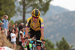 Primoz Roglic (SLO) Team Jumbo-Visma crosses the finish line in 2nd place at the end of Stage 7 of La Vuelta 2019 running 183.2km from Onda to Mas de la Costa, Spain. 30th August 2019.<br /> Picture: Colin Flockton | Cyclefile<br /> <br /> All photos usage must carry mandatory copyright credit (© Cyclefile | Colin Flockton)
