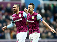 Lewis Grabban of Aston Villa and John Terry of Aston Villa celebrates Aston Villa's victory against Birmingham City.<br /> <br /> Photographer Leila Coker/CameraSport<br /> <br /> The EFL Sky Bet Championship - Aston Villa v Birmingham City - Sunday 11th February 2018 - Villa Park - Birmingham<br /> <br /> World Copyright &copy; 2018 CameraSport. All rights reserved. 43 Linden Ave. Countesthorpe. Leicester. England. LE8 5PG - Tel: +44 (0) 116 277 4147 - admin@camerasport.com - www.camerasport.com<br /> Photographer Leila Coker/CameraSport<br /> <br /> The EFL Sky Bet Championship - Aston Villa v Birmingham City - Sunday 11th February 2018 - Villa Park - Birmingham<br /> <br /> World Copyright &copy; 2018 CameraSport. All rights reserved. 43 Linden Ave. Countesthorpe. Leicester. England. LE8 5PG - Tel: +44 (0) 116 277 4147 - admin@camerasport.com - www.camerasport.com