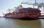 Hamburg Sud container ship 'Paranagua Express' at container terminal, Port of Rotterdam, Netherlands