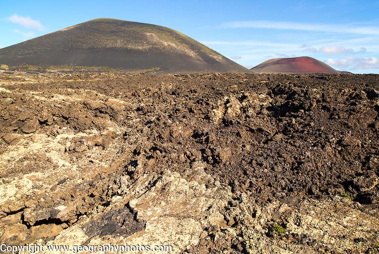 Malpais badlands volcanic landscape Montana Negra and Caldera Colorada, Parque Natural Los Volcanes, Masdache, Lanzarote, Canary islands, Spain