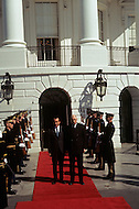 White House, Washington D.C. March 31, 1969. United States President Richard Nixon and French President Charles de Gaulle exiting the South Wing of the White House for the funeral of President Dwight Eisenhower. He (October 14, 1890 - March 28, 1969) was the 34th President of the United States from 1953 until 1961, was a five-star general in the United States Army during World War II and was the first supreme commander of NATO.