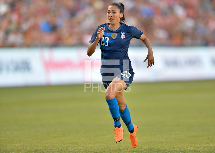 Sandy, Utah - Thursday June 07, 2018: Christen Press during an international friendly match between the women's national teams of the United States (USA) and China PR (CHN) at Rio Tinto Stadium.